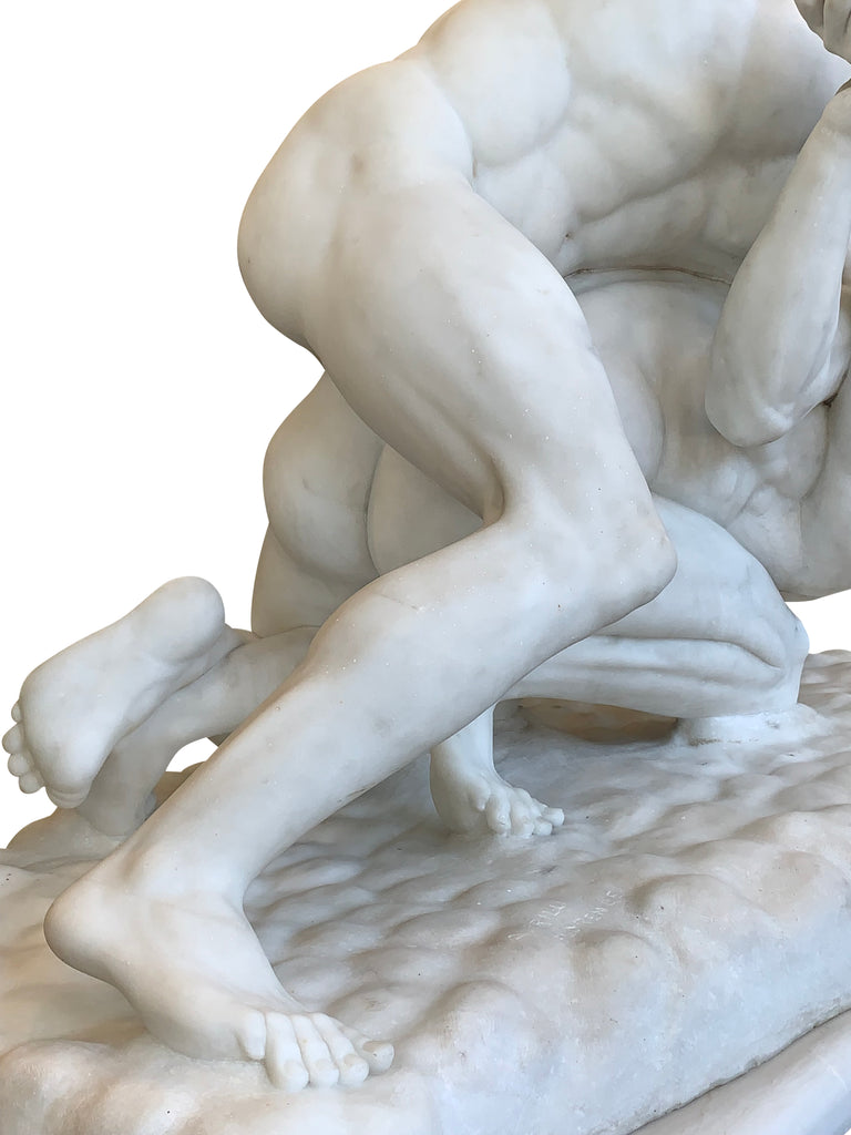 Lifesize carved marble Sculpture, 'The Wrestlers'