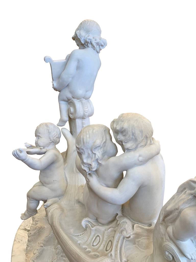 Large 19th century marble group,  'The Love Boat'