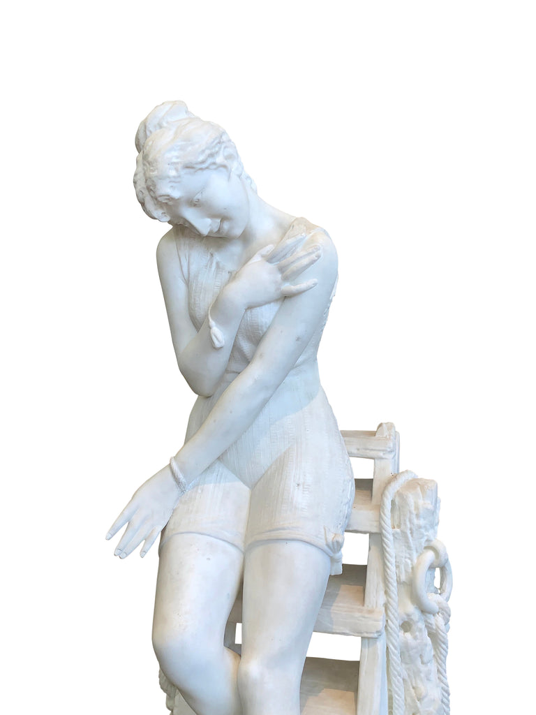 Marble figure by Emilio Fiaschi - 'Testing the waters'