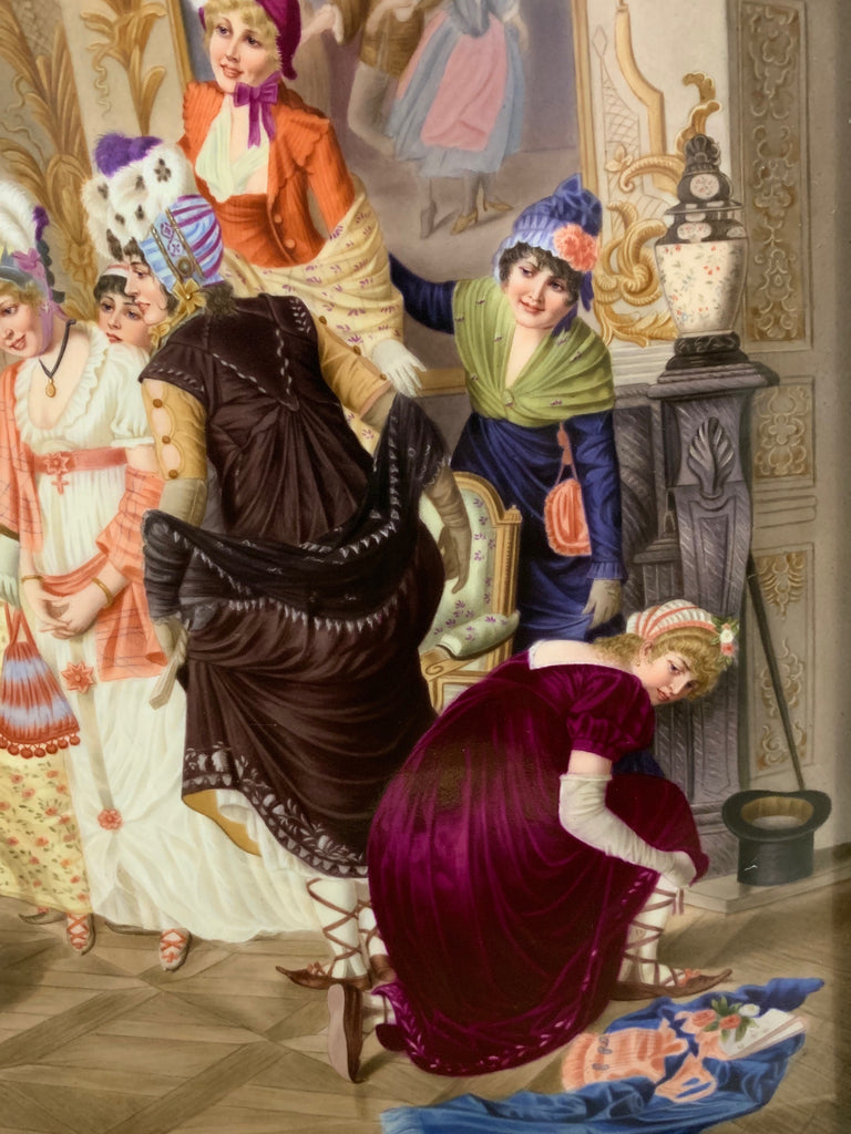 "A Large Berlin KPM Porcelain Plaque - ""The Dancing Lesson of Our Grandmother"""