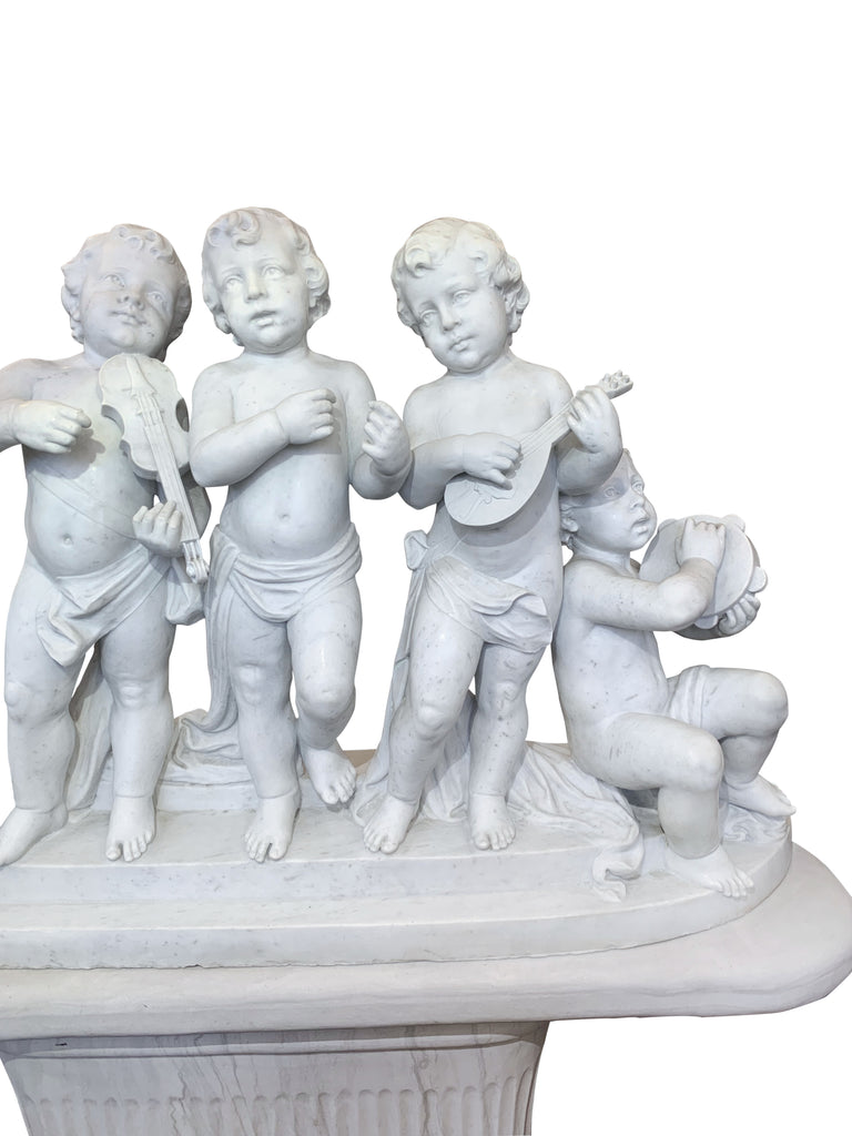 Large Italian Carved Marble Group Depicting Bacchic Musicians on marble stand