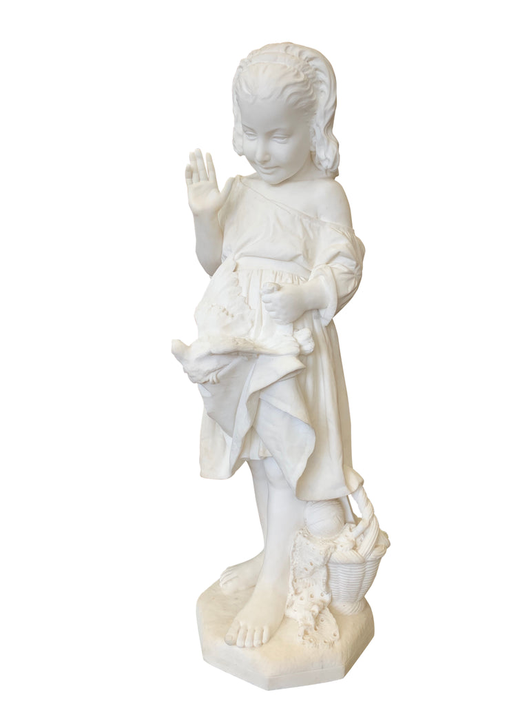 Marble figure of a young girl by Emanuele Caroni