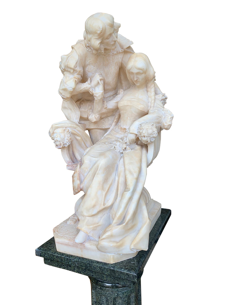 Alabaster group of lovers with pedestal