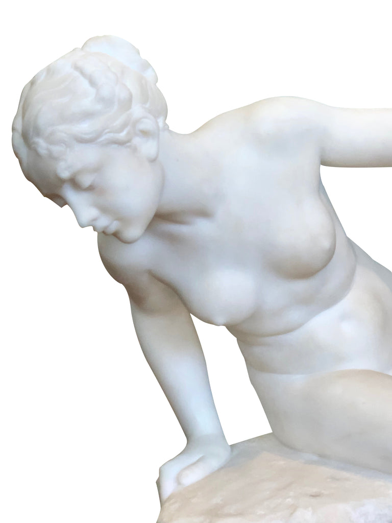 French Marble figure of a lady by Benoit Rougelet