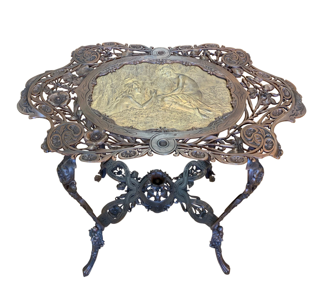 Art Nouveau bronze table