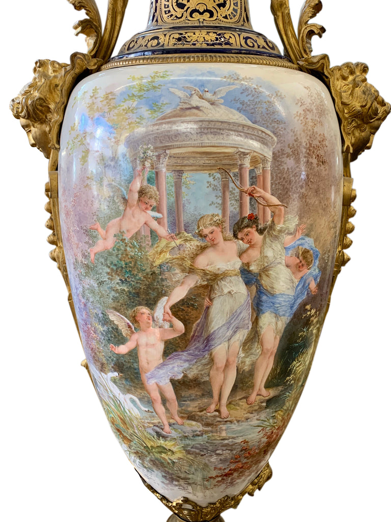 Monumental 'Sevres' style porcelain covered urn