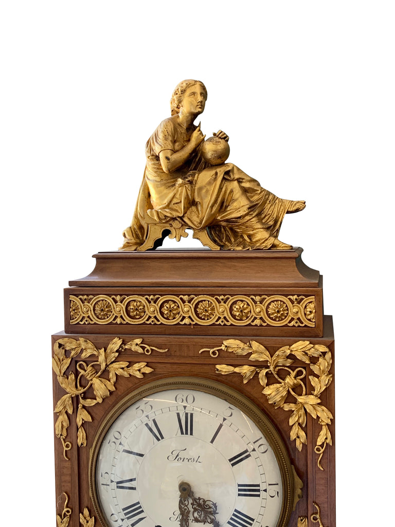A Late 19th Century French Louis XV Style Gilt-Bronze Mounted Grandfather Clock