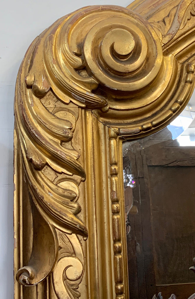 Monumental Antique French carved giltwood mirror