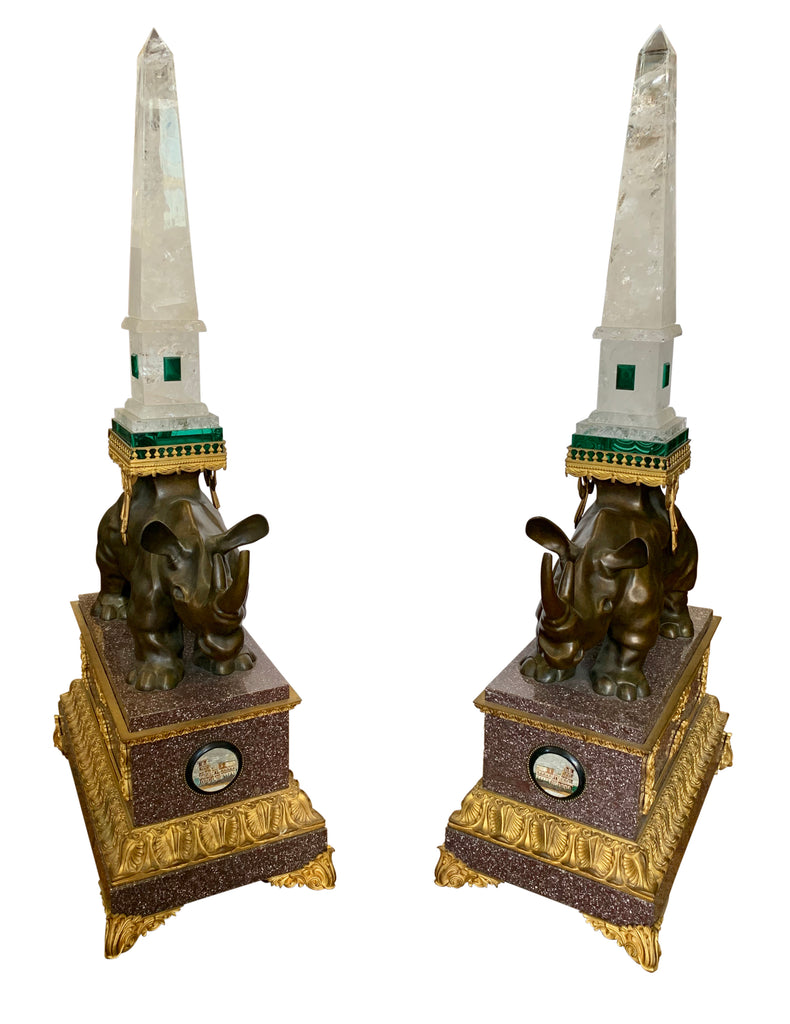 A Pair of Rhinoceros Figures with Rock Crystal Obelisks