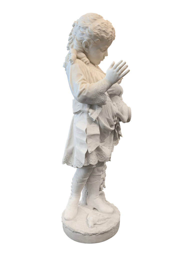 """Reproof"" a marble sculpture by Edward Russell Thaxter"