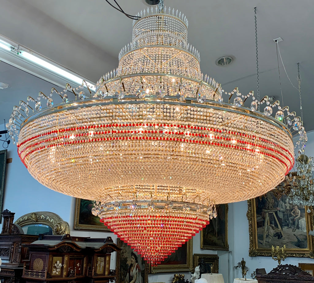 Monumental crystal and gilt bronze ballroom chandelier