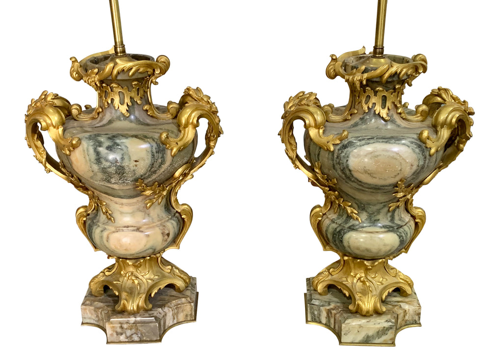 Pair of ormolu mounted marble lamps by Maison Millet