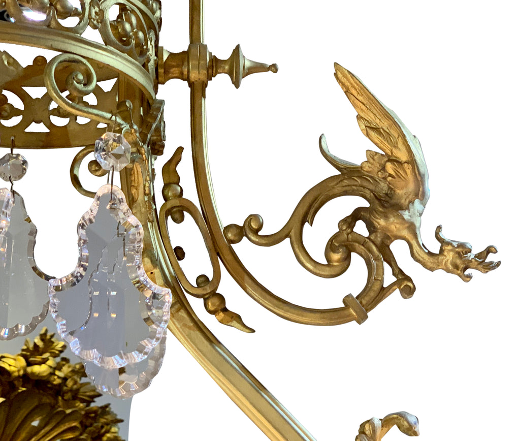 Antique gilt bronze and crystal chandelier with dragons