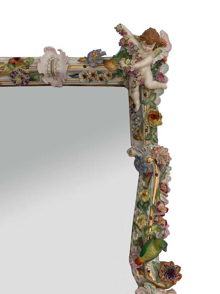 German porcelain figural console and mirror