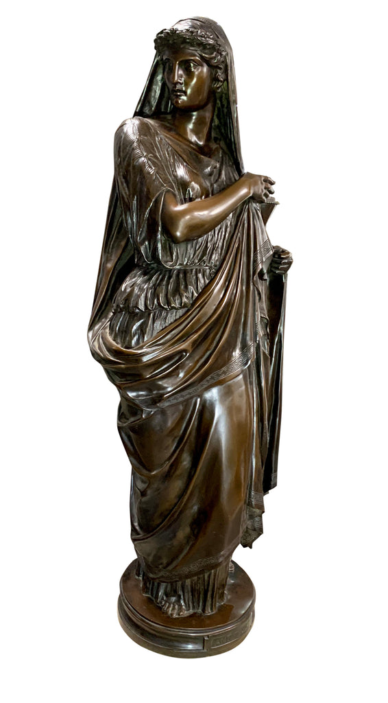Large patinated bronze figure of a classical lady