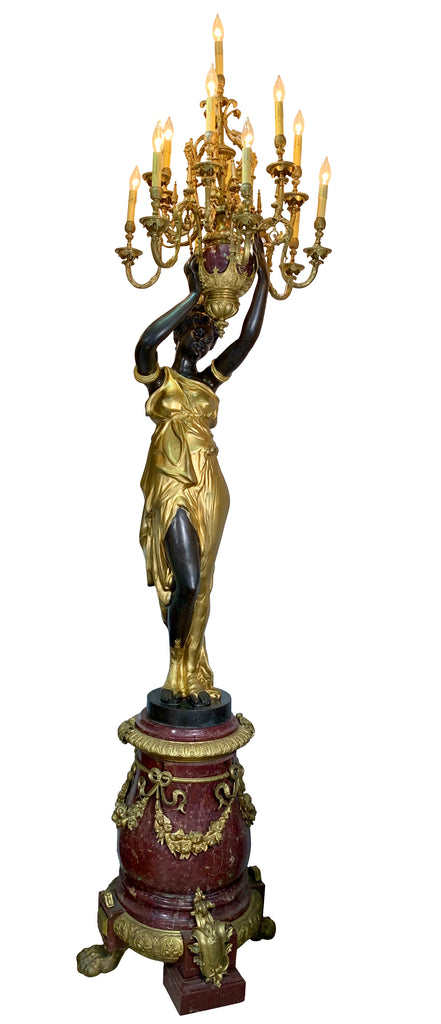 Pair of Monumental French Gilt and Patinated Bronze and Rouge Marble Figural Torcheres