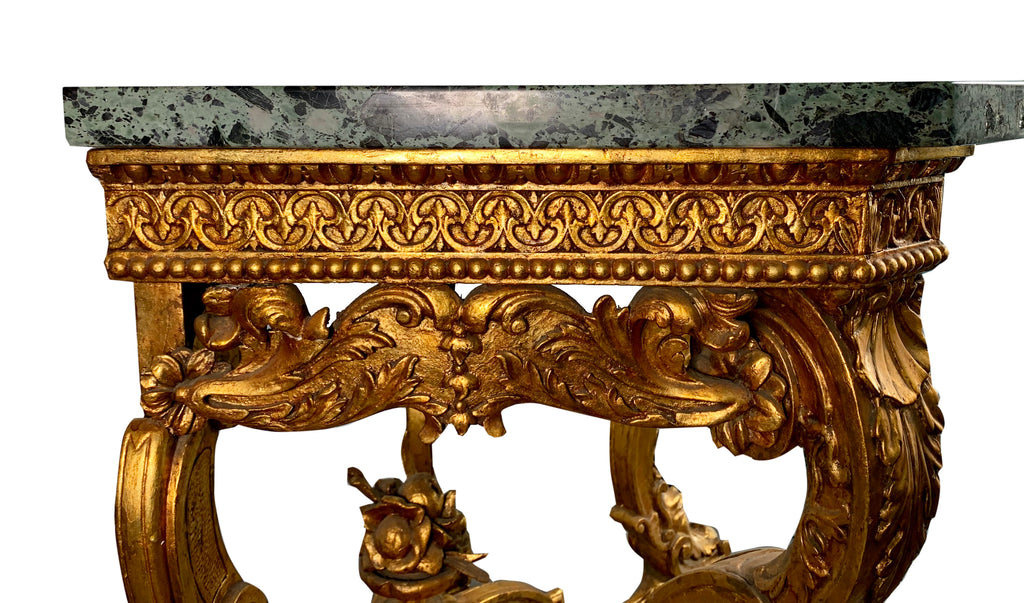 19th century Italian carved giltwood marble top console table
