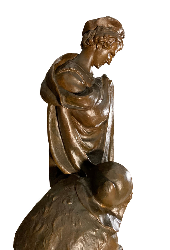 "Large 19th Century French Bronze ""Prince Hamlet & the Gravedigger, Shakespeare"""
