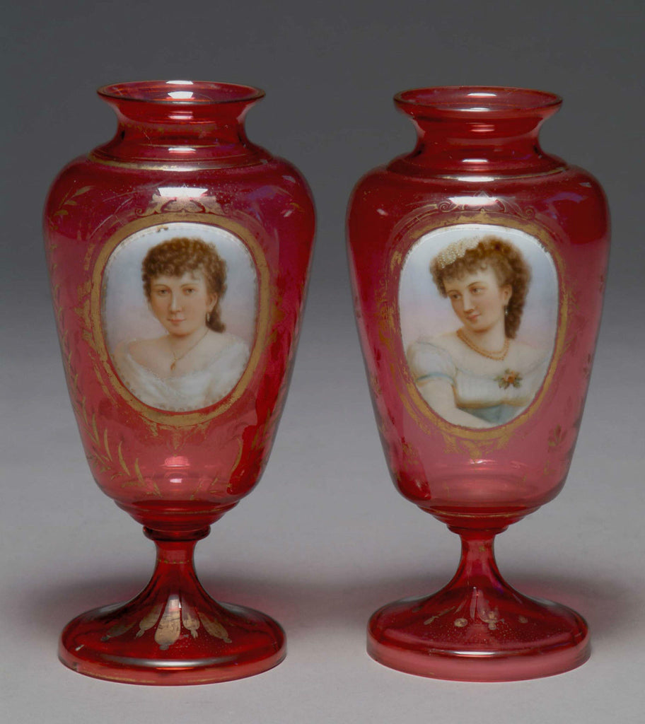 A Fine Antique Pair of Bohemian Cranberry Red Glass Enameled & Gold Decorated Portrait Vases