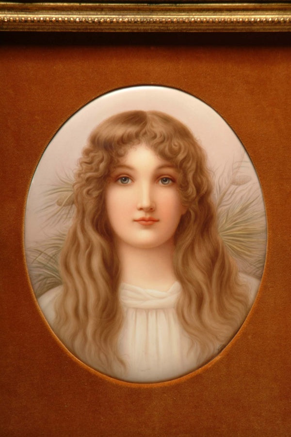Large Berlin K.P.M Porcelain Plaque of a Blonde Beauty