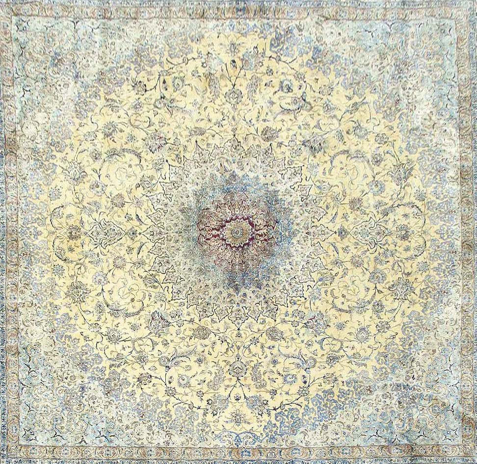 Large Persian Nain 100% silk square rug 20' x 20'