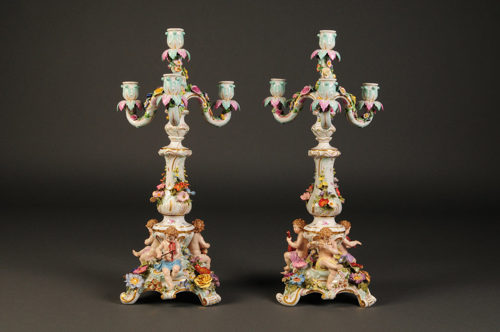 Pair of Meissen porcelain candelabras