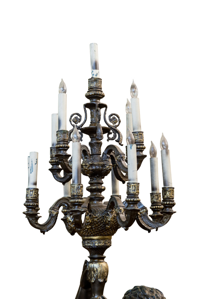 Pair of Monumental Patinated metal Thirteen-Light Torchères