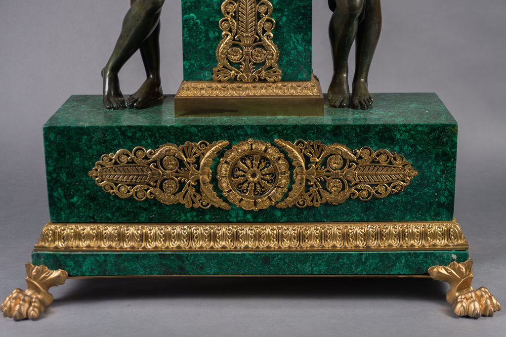 "Large Gilt Bronze Mounted Malachite Figural Clock - ""Psyche Crowning Cupid"""