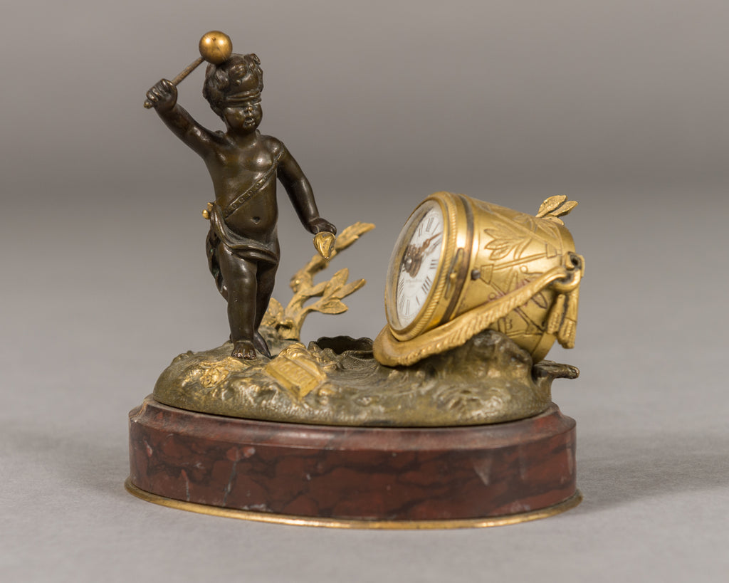Miniature French gilt bronze clock with inkwell