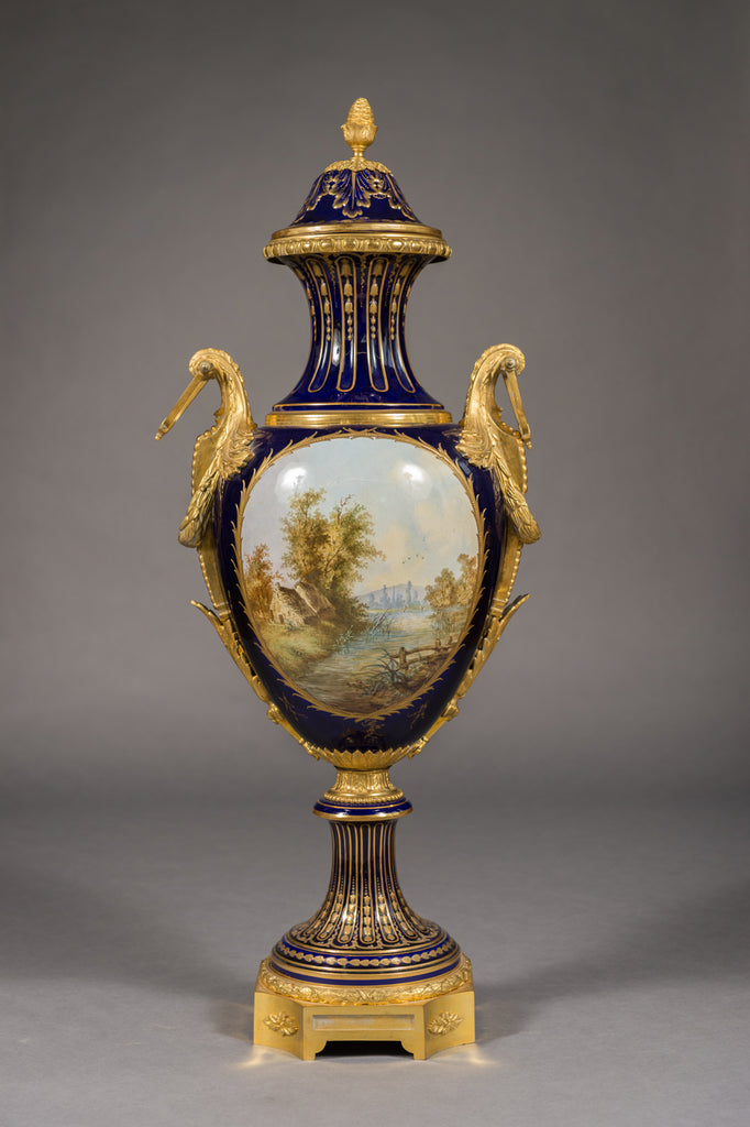 Large 19th century Sevres porcelain covered urn