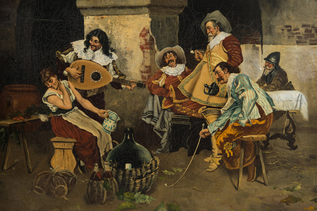 19th Century Painting of Musketeers in an Interior
