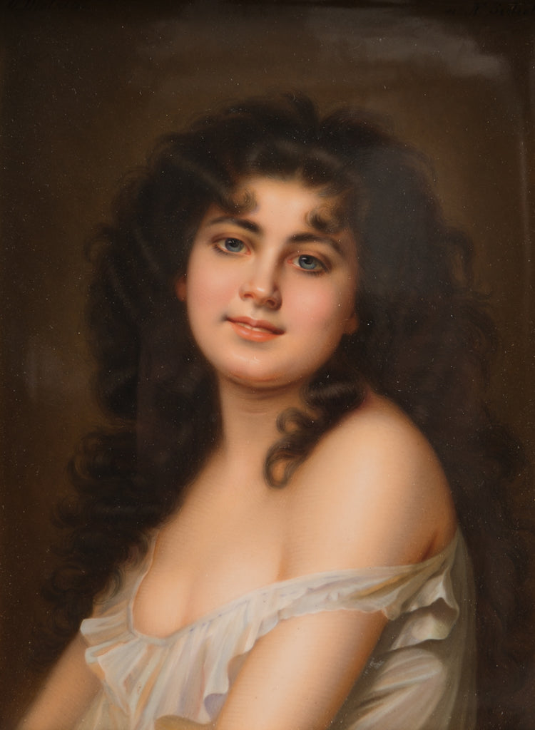 19th Century KPM Plaque Depicting a Young Beauty