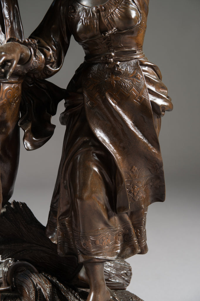 French Patinated Bronze Group by Jean Didier Début