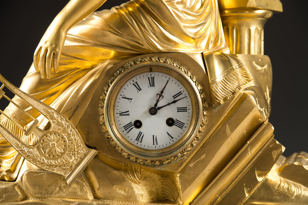 Large 19th Century French Gilt Bronze Figural Mantel Clock