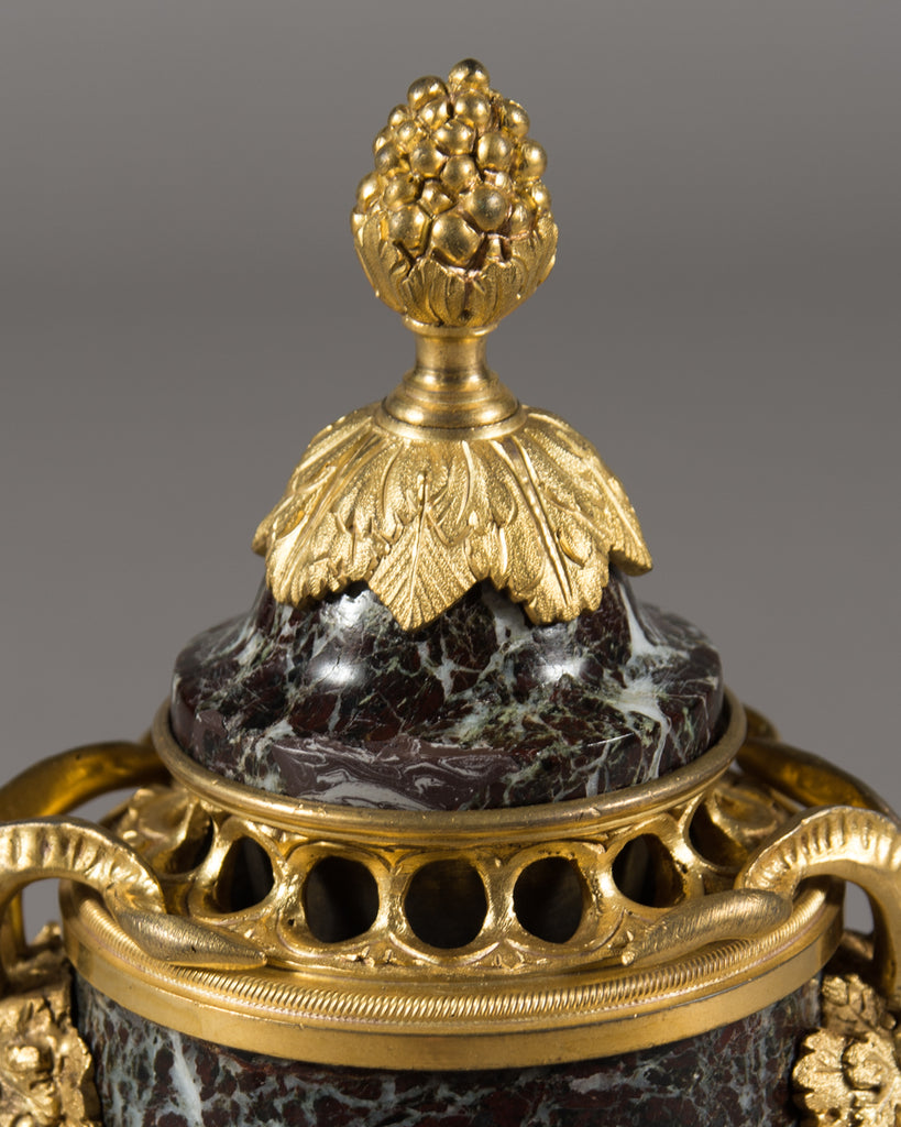 Pair of  19th Century French Ormolu mounted Marble Cassolettes