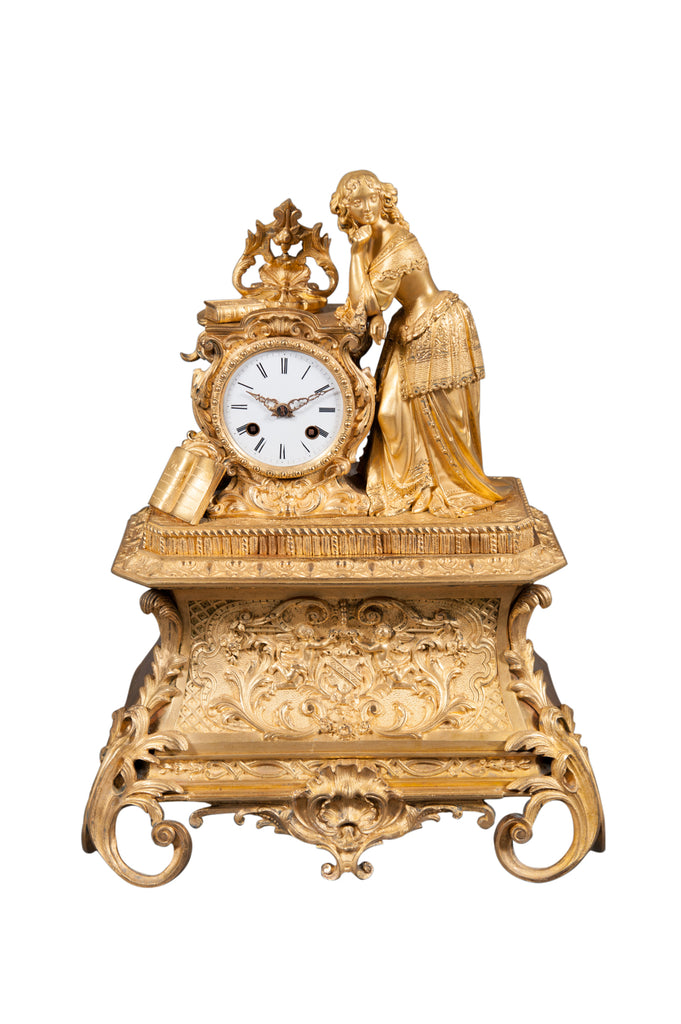19th century French ormolu figural mantle clock - smiling lady with books