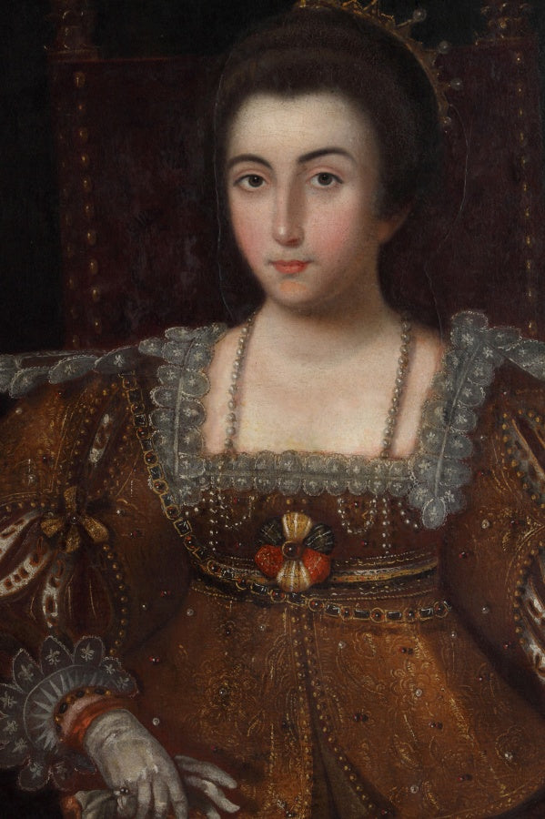 17th Century Spanish Oil on Canvas Depicting a Queen