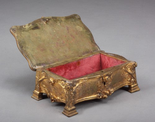 An Early 20th Century French Gilt Bronze Jewelry Box