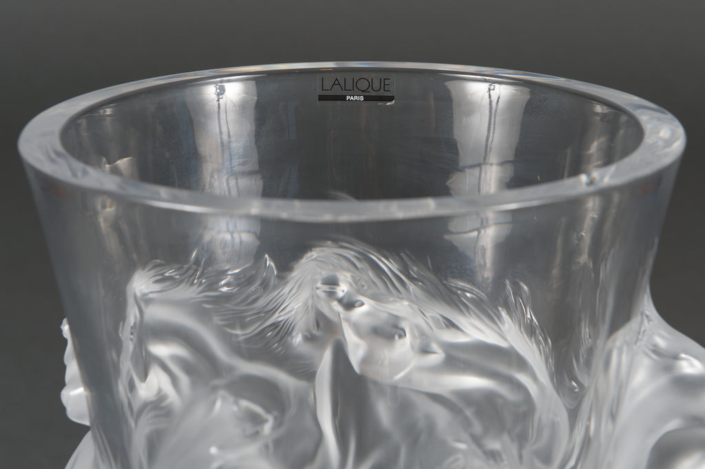 Limited edition Lalique 'Equus' crystal vase