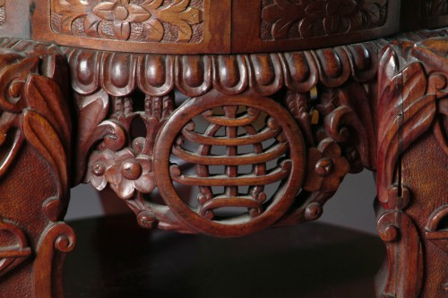 A Meiji Period Japanese Rose Wood Pedestal