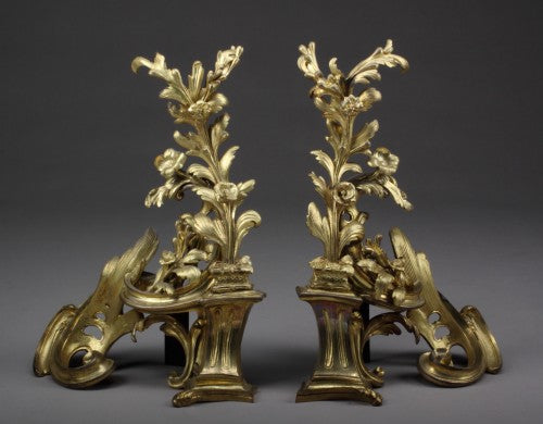 A Pair of French Gilt Bronze Rococo Style Chenets