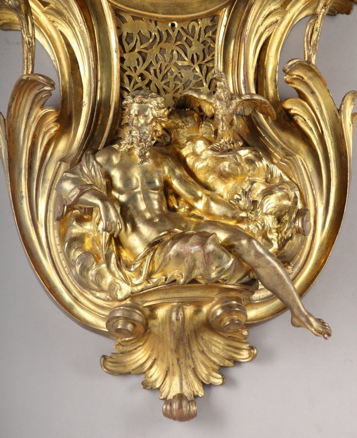 French Louis XV Style Gilt Bronze cartel Clock