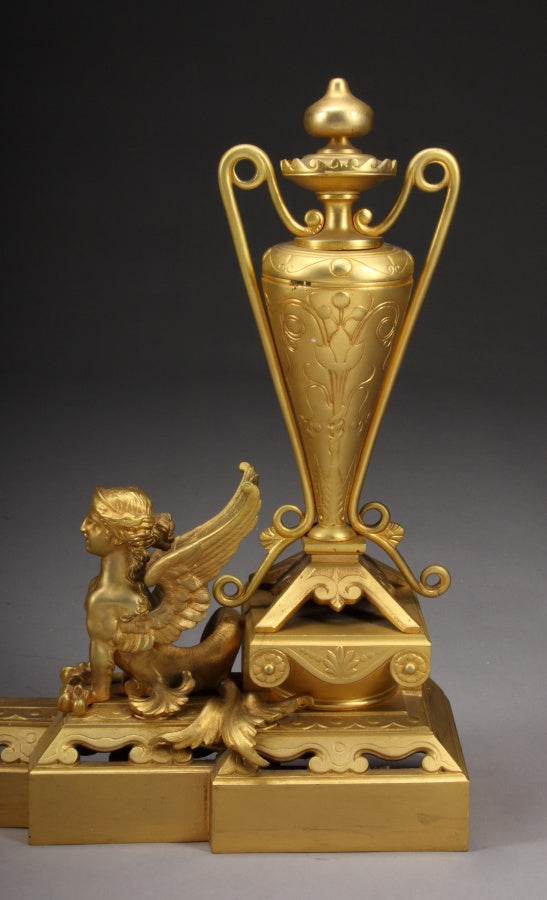 A French Gilt Bronze Ormolu Figural Extended Fire Fender/Chenets