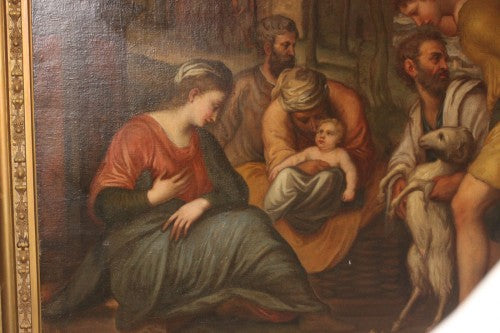 A Large Continental Antique Oil on Canvas Painting