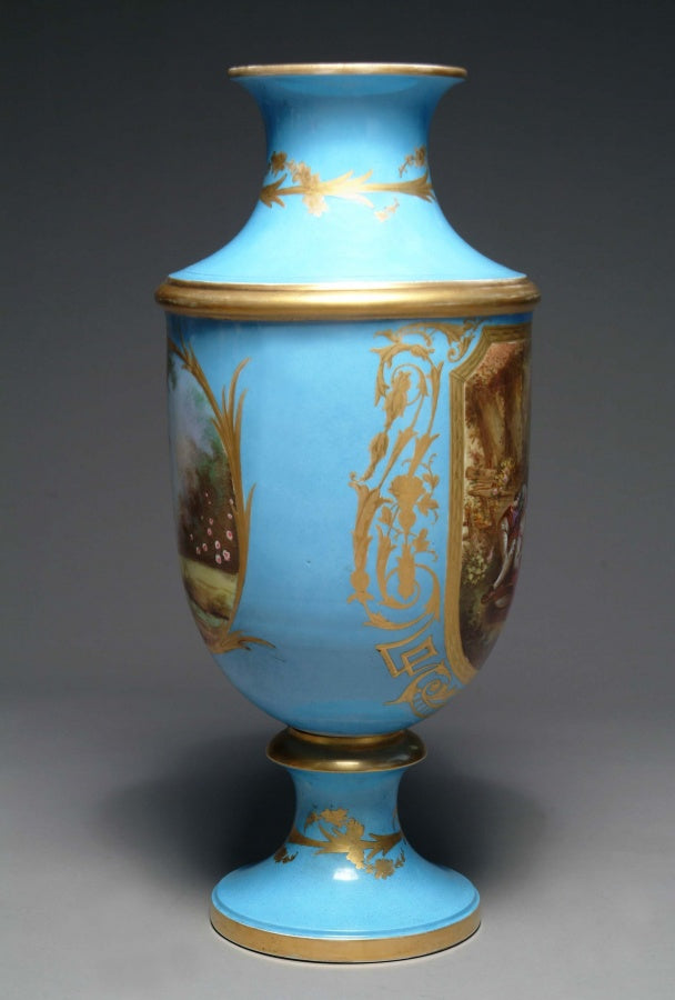 A Large French Sevres Style Painted Porcelain Trumpet Vase