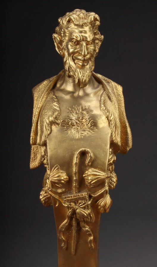 A Pair of Late 19th Century Gilt-Bronze Fire Place Figural Bronze Andirons