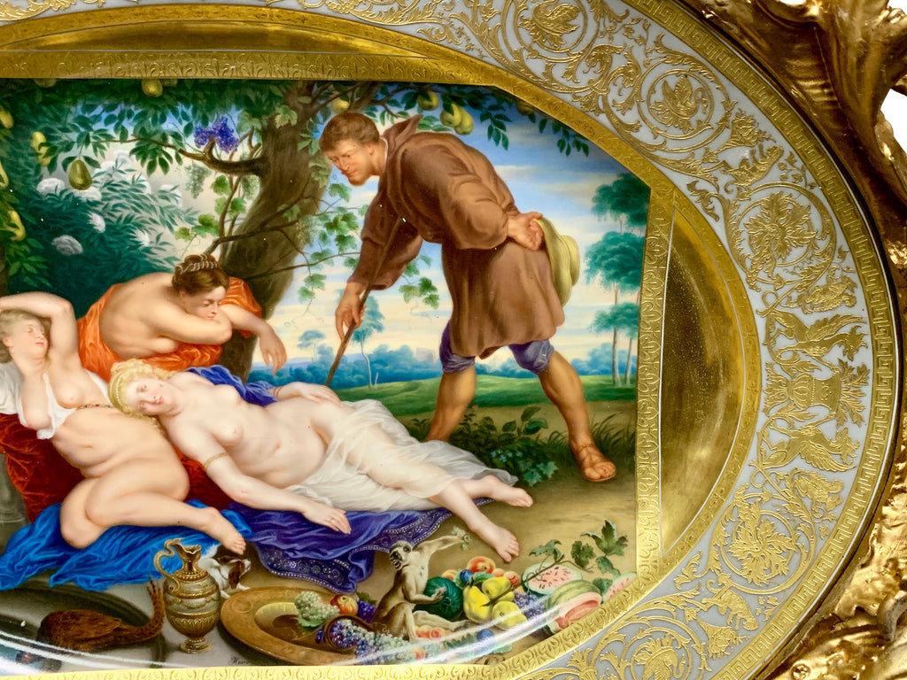 Large Royal Vienna framed charger - 'Cimon And Iphigenia'