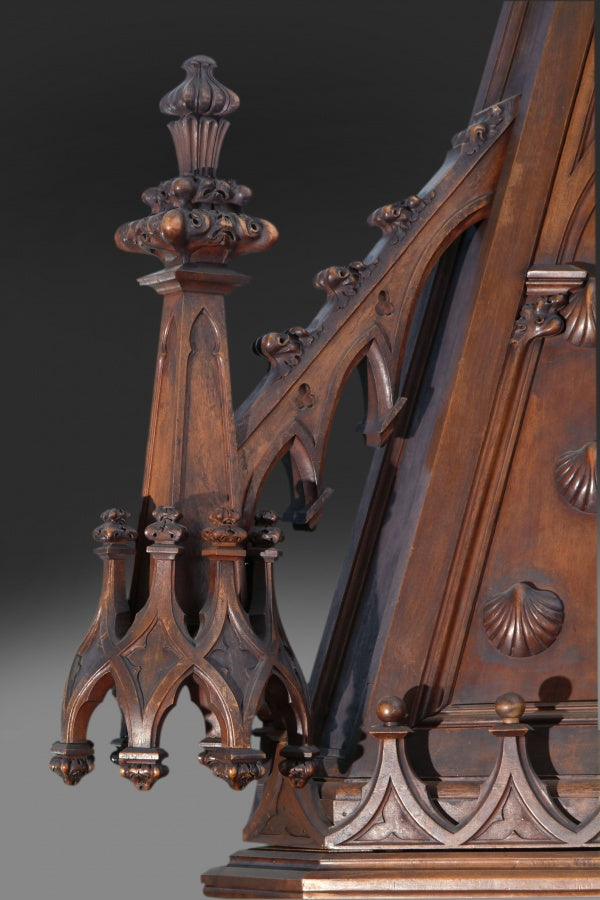 A Monumental Gothic Style Carved Walnut & Polychrome Decorated Fireplace