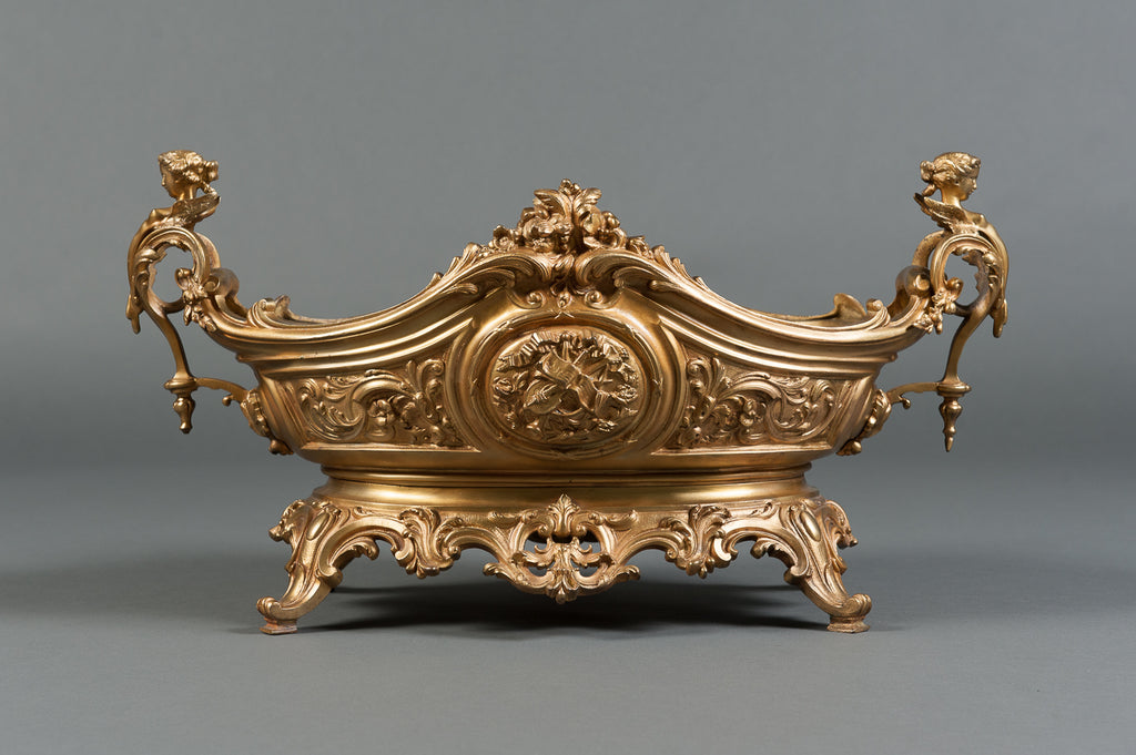 A Large French Rococo Gilt Bronze & Figural Centerpiece