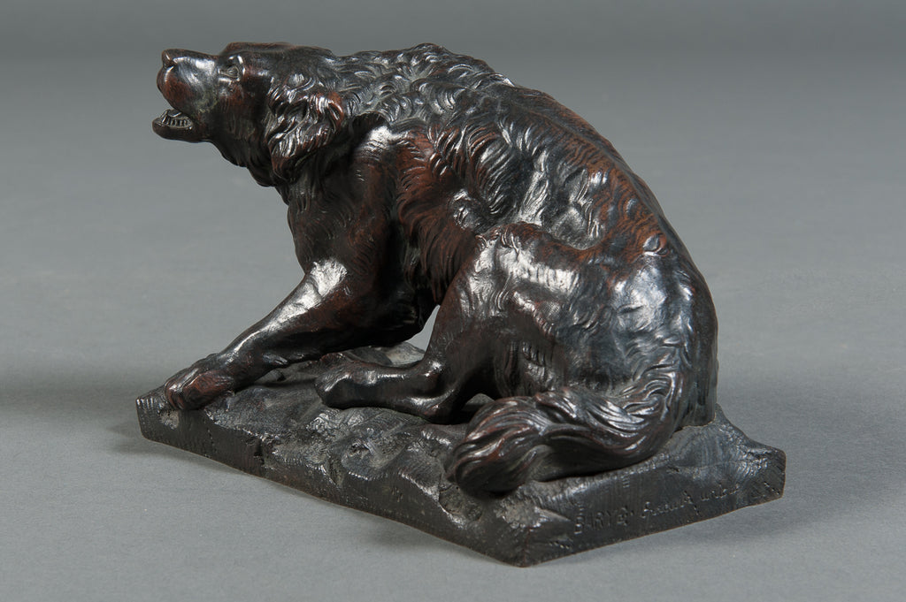 A Pair of French Patinated Bronze Wild Dogs by A. Barye Barbedienne Foundry